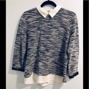 Black and white sweater with faux shirt details
